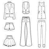 För modekläder för kvinnor s set för vektor Arkivbilder