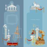 För museumutställning för konstgalleri antika baner för kultur för värld Arkivbilder