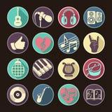 För musikallägenhet för vektor fastställda symboler för rengöringsduk Mångfärgat med lång skugga för internet, mobila apps, manöv Arkivbilder