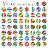 För nationsflaggaknapp för vektor afrikansk uppsättning Royaltyfri Fotografi