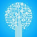 för nätverkssamkväm för bakgrund blå tree Arkivfoto