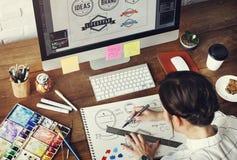 För ockupationdesign för idéer idérikt begrepp för start för teckning för studio Royaltyfria Foton