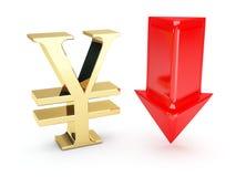för pilar symbol för euro ner guld- Royaltyfri Bild