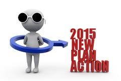 för planhandling för man 3d nytt begrepp 2015 Arkivfoto