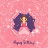 För prinsessahälsning för lycklig födelsedag rosa kort Royaltyfri Foto