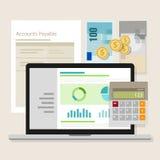 För redovisningsprogramvara för konto betalbar bärbar dator för applikation för räknemaskin för pengar Arkivbild