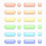 För rengöringsdukknappar för vektor modern färgrik uppsättning Arkivfoto