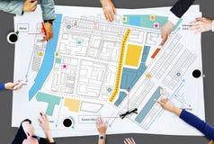 För ritningplan för stad stads- Infrastacture begrepp Arkivbild