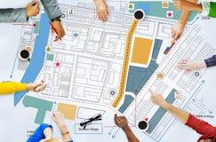 För ritningplan för stad stads- Infrastacture begrepp Royaltyfria Bilder
