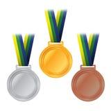 För silverbrons för olympiska medaljer guld- illustration Arkivbild