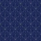 För sömlöst porslin kimonot för sashikoen för tappning för indigoblå blått och vitmönstrar den japanska vektorn Fotografering för Bildbyråer