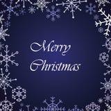 För snöflinga för glad jul kort för blått Royaltyfri Bild