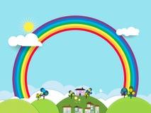 För snitt-fantasi för landskap pappers- hem för sötsak hem, himmel med solen Royaltyfri Fotografi