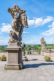 För statydetalj för sandsten barock himmel Kuks Royaltyfri Fotografi