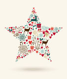 För stjärnaform för glad jul illustration Fotografering för Bildbyråer