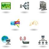 för symbolsnätverk för dator glansig set Fotografering för Bildbyråer