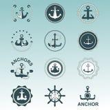 För symbolvektor för ankare nautiska emblem Royaltyfri Bild