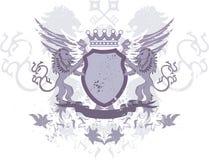 för tangentlions för grunge heraldisk sköld Royaltyfri Foto