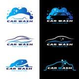 För tjänste- fastställd design logovektor för biltvätt Fotografering för Bildbyråer