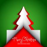 För träddesign för glad jul pappers- kort för hälsning Arkivfoton