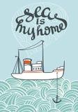 För typografihav för vektor hand dragen affisch med skeppet och vågor Arkivfoto