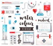 För vattenfärgvektor för medicinsk utrustning objekt Arkivbilder