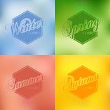 För vektorbakgrund för fyra säsonger uppsättning för typografi Arkivbild