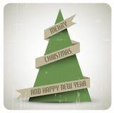 För vektorgrunge för tappning retro julgran Royaltyfri Fotografi
