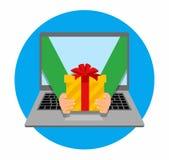 För vektorillustration för plan design färgrikt begrepp för online-beställa för gåvor och hemsändning på vit bakgrund Royaltyfri Fotografi