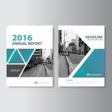För vektorårsrapport för blå gräsplan design för mall för reklamblad för broschyr för broschyr för tidskrift, bokomslagorienterin Royaltyfri Foto