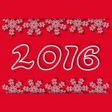 För vinterferie för nytt år 2016 röd bakgrund, snöflinga och nummer, modellpartiinbjudan Arkivfoton