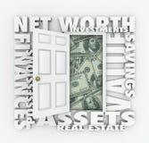 För värdeslutsumma för netto värde öppen dörr Wo för finansiella för rikedom skulder för tillgångar Royaltyfri Fotografi