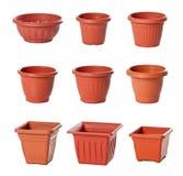 för växtplast- för blomkrukar inomhus set Arkivbild