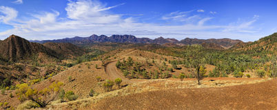 FR WP Razorback vert panorama. Wilpena Pound in Flinders Ranges national park of South Australia. Panoramic view from Razorback lookout on a geology trail Royalty Free Stock Photo