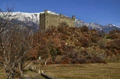 Fração de Ussel de Chatillon, ` Aosta de Valle d, Itália 11 de fevereiro de 2018 Fotografia de Stock Royalty Free