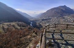 Fração de Ussel de Chatillon, ` Aosta de Valle d, Itália 11 de fevereiro de 2018 Imagens de Stock Royalty Free