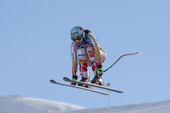 FRA :高山滑雪下坡Val D'Isere 库存照片