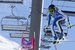 FRA :高山滑雪下坡Val D'Isere 免版税库存照片