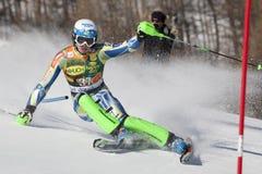 FRA :高山滑雪Val D'Isere人的障碍滑雪 免版税库存照片