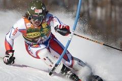FRA :高山滑雪Val D'Isere人的障碍滑雪 图库摄影