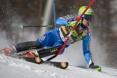 FRA :高山滑雪Val D'Isere人的障碍滑雪 库存照片