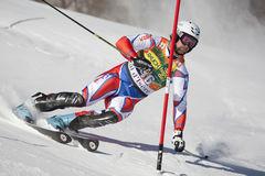 FRA :高山滑雪Val D'Isere人的障碍滑雪 免版税库存图片