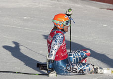 FRA :高山滑雪Val D'Isere人的GS 免版税库存图片