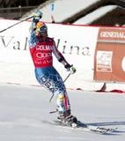 FRA :高山滑雪Val D'Isere人的GS 库存图片