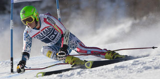 FRA :高山滑雪Val D'Isere人的GS 免版税库存照片