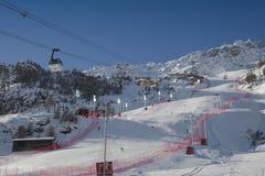 FRA :高山滑雪Val D'Isere人的GS 库存照片