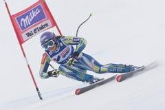 FRA :高山滑雪Val D'Isere妇女DH trg1 库存图片