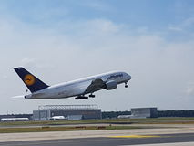 A380. @FRA airport Royalty Free Stock Photos