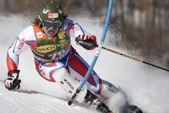 FRA: De alpiene het ski?en Val D'Isere slalom van mensen Stock Fotografie