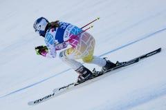 FRA: För Val D'Isere för alpin skidåkning DH trg2 kvinnor Fotografering för Bildbyråer
